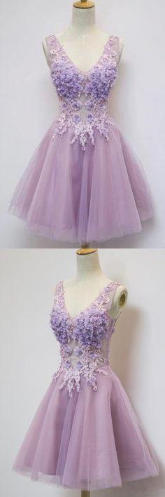 short prom dresses,lavender lace prom dresses,tulle v-neck prom dresses,cheap short prom dresses,party dresses,short party prom dresses