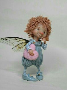 Fairy puppet little Fredo by enaidworld on Etsy Elves And Fairies, Clay Fairies, Elf Doll, Doll Home, Mushroom Art, Fairy Figurines, Clay Baby, Clay Figurine, Dragons