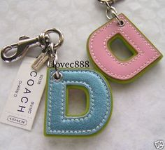 NWT COACH LEATHER LETTER ' D ' CHARM KEY FOB KEY CHAIN