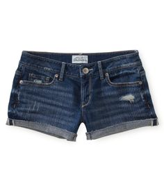 Destroyed Medium Wash Denim Shorty Shorts