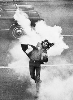 Anti-War Demonstrator Throwing Tear Gas. Tuesday, May 05, 1970