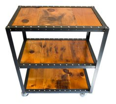 """Custom fabricated bar cart with reclaimed, old growth pine and 1-1/4"""" angle iron.  FREE SHIPPING"""