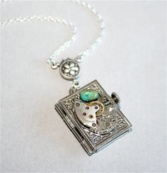 Steampunk Locket Necklace - Vintage Watch Movement Part and Book Locket in Antique Silver, Sterling Silver chain available.