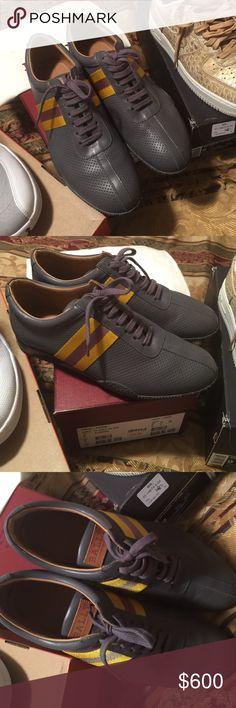Bally Men Shoes 9 Gray With  Yellow Strip Frenz-FO/235 Grey 15 Calf Plain Bally Shoes Sneakers