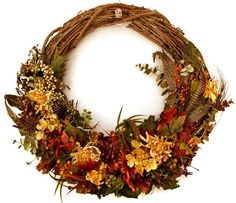 Autumn Mums and Berries Woodlands Wreath