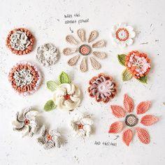Appliqué flowers crochet pattern