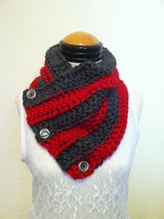 Ohio State Buckeye themed cowl wrap made with a mixed soft acrylic and wool blend yarn in charcoal gray and deep red with designed silver plated buttons. $45 This order is ready for Teri :)
