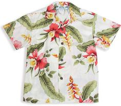 Product Details: Boy's Beach Shirt - Orchid Pu'a 100% Rayon Color: Beige Sizes: 1 - 14 Prices may vary by size Made in Hawaii - USA