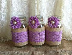 Arpillera rústico lavanda y encaje cubren 3 jarrones por PinKyJubb