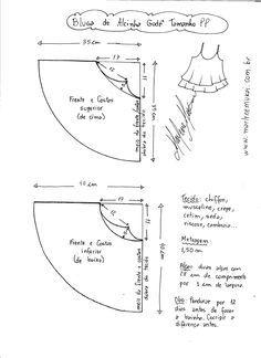 Esquema de modelagem de Rega de Alcinha Godê tamanho PP.