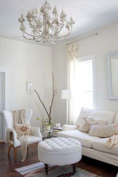 White living room.