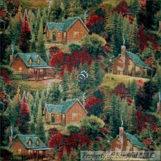 Boneful Fabric Fq Cotton Quilt Thomas Kinkade Us Log Cabin Scenic Tree Fall Xmas Scrap Fabric Projects, Fabric Scraps, Quilting Fabric, Machine Quilting, Blue Quilts, Mini Quilts, Tree Sale, Wood Owls, Winter Quilts