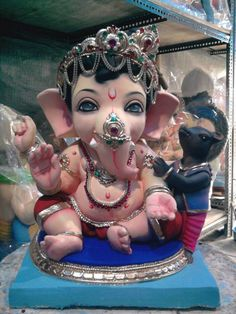 Lord Ganesha as a baby Ganesh Lord, Jai Ganesh, Ganesha Art, Shree Ganesh, Krishna Art, Ganesh Images, Ganesha Pictures, Om Gam Ganapataye Namaha, Ganesh Chaturthi Decoration