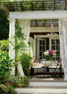 I like the idea of a pergola and outdoor fabric curtains for the patio Outdoor Rooms, Outdoor Living, Outdoor Decor, Outdoor Fabric, Outdoor Seating, Indoor Outdoor, Porches, Future House, My House
