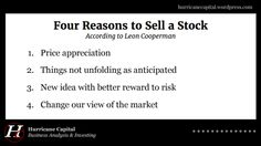 A choice transcript of Leon Cooperman talking about the art of selling stock. Stock Investing, Investing In Stocks, Selling Stock, Marketing, Things To Sell, Business, Store, Business Illustration