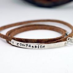 Leather Wrap Bracelet in Brown Leather with Custom by thebeadgirl, $70.00
