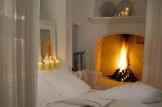fireplace in the bedroom. Home sweet home. Cosy Bedroom, Dream Bedroom, Bedroom Decor, White Bedroom, Bedroom Candles, Bedroom Romantic, Cozy Room, Cozy Bed, Coziest Bedroom