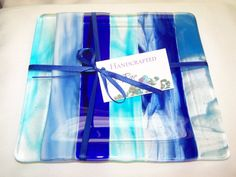 Blue Fused Glass Plate by mrae on Etsy