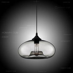 Colourful Glass Single-Light Concave Oval Pendant