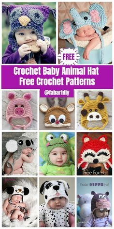 Crochet For Babies 20 Cute Crochet Baby Animal Hat Free Crochet Patterns - DIY Crochet Baby Animal Hat Patterns Roundup Crochet Animal Hats, Crochet Baby Hat Patterns, Crochet Baby Beanie, Crochet Baby Shoes, Crochet Baby Clothes, Baby Knitting, Crochet Hats, Knit Baby Hats, Crocheted Baby Hats