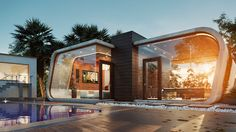 Pool House by Archtecture study) Lumo Studio Arch & Design on Behance Cgi, Architecture Company, Sources Of Calcium, 3d Artist, 3d Max, Cool Pools, Home Projects, Exterior, Mansions