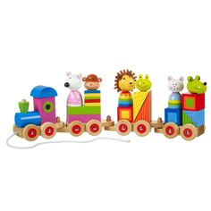 Keep your child delighted and amused with this fun wooden train. Featuring bright colors and an array of animals, this puzzle train is great for entertaining children as young as 1 year old. Handcraft