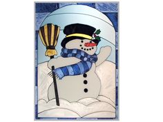 Snowman Stained Glass Art A happy and delightful snowman, this hand painted stained glass art brings a smile to your face and warms your heart. Meticulously hand-painted and zinc-framed, this V-size v