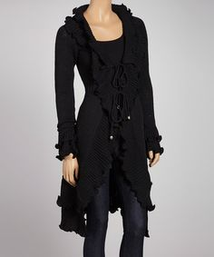 Take a look at this Black Ruffle Duster by Papillon Imports on #zulily today!
