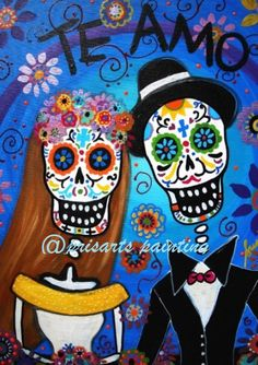 Mexican WEDDING Day of the Dead Couple Bride and Groom by prisarts