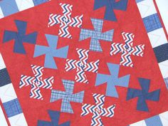 Quilted Patriotic Table Topper, Square Americana Table Mat, Red White Blue Pinwheels and Checkered Border, Quiltsy Handmade by VillageQuilts on Etsy