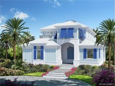 Old Florida style Key West Home - New Construction in Olde Naples, FL  - Blue shutters - tropical living