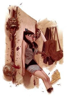 THIS is what goes on in my brain when I go back to my room from the bathroom at night...art by Julian Totino Tedesco
