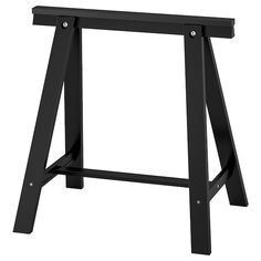 IKEA - ODDVALD, Trestle, black, Solid wood is a durable natural material. Plastic bumpers for holding the table top in place are included. Ikea Alex, Ikea Interior, Desk Legs, Table Legs, Solid Pine, Solid Wood, Alex Drawer, Plastic Drawers, Drawer Unit