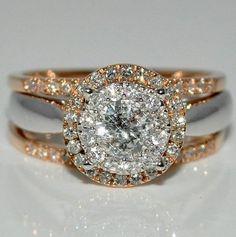 Stunning Gold & White Gold Ring - Sparkling Engagement Ring