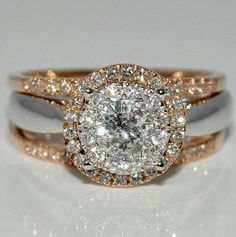 Stunning Gold & White Gold Ring - Sparkling Engagement Ring