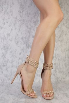 Nude Strappy Studded Detailing Open Toe Single Sole High Heels Suede