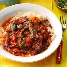 Cuban Ropa Vieja Recipe -This recipe offers a great authentic Cuban taste that can be prepared at home. I love having this as a go-to recipe for a weeknight meal.—Melissa Pelkey-Hass, Waleska, Georgia