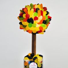 An edible tree hand made with Wine Gums and planted with milk chocolate raisins. Rice Krispies Ingredients, Chocolate Raisins, Popular Birthdays, Sweet Trees, Cellophane Wrap, Chocolate Coating, Tree Nuts, Personalized Wine, Sweets