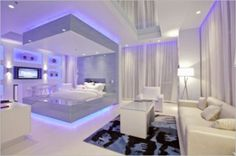 Bedroom Ideas for Women in Light Color Theme: Awesome Bedroom Ideas For Women White Sofas White Table White Curtains ~ dickoatts.com Bedroom Designs Inspiration