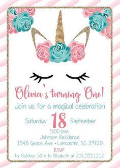 Invitación del cumpleaños de unicornio invitación  grupo de