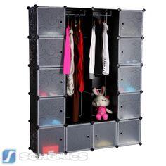 Steckregalsystem kleiderschrank  DIY Kleiderschrank Standregal Garderobe Wäscheschrank mit ...