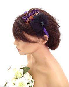 Elegant Small Purple Black Feather And Bow Headband Fascinator Hatinator Races