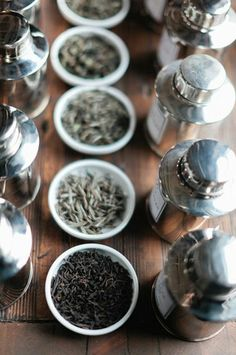 Tea leaves and canisters