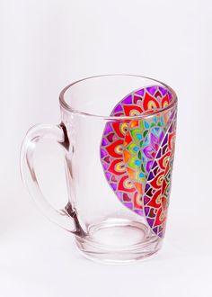 Mandala Mug Rainbow Mug Mosaic Mug Boho Mug by Shuflada on Etsy