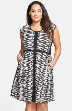 NIC+ZOE 'Pebble Pieced' Knit Twirl Dress (Plus Size) available at #Nordstrom