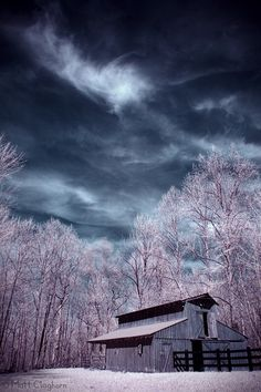 rural infrared barn sky clouds