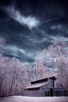 rural infrared barn sky clouds