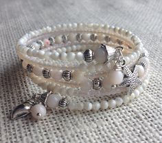 Beachy Queen Mother of Pearl Multi Coil Memory Wire Bracelet