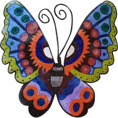 Colorful Butterfly Marble and Glass Mosaic Artwork . MA123A