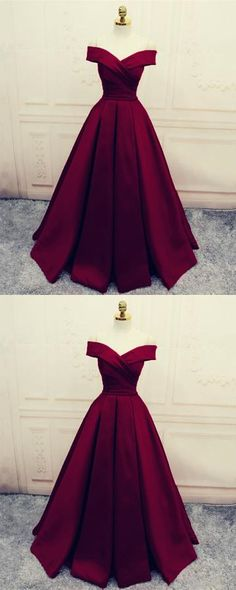 Simple V-Neck Off Shoulder Prom Dresses Long Evening Dresses - Fashion Dresses Simple Evening Gown, Glamorous Evening Dresses, Simple Gowns, Red Evening Gowns, Red Gowns, Long Gown Simple, Trendy Dresses, Elegant Dresses, Cute Dresses